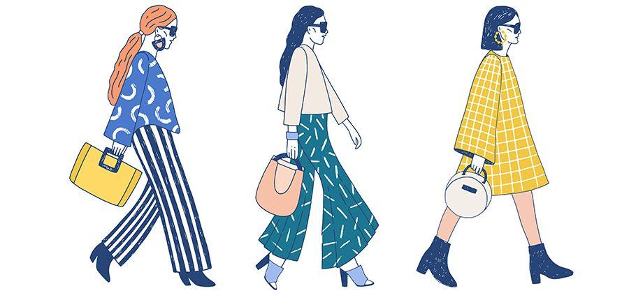 Illustrations of multiple fashion designs