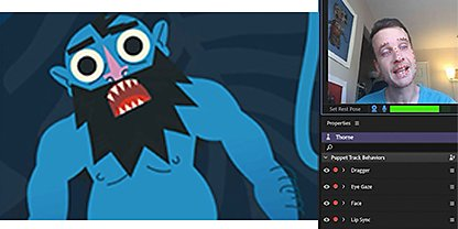 ชายคนหนึ่งใช้ Adobe Character Animator เพื่อทำให้การ์ตูนเคลื่อนไหว